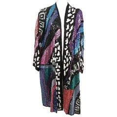 1970s Judith Ann Rainbow Sequin Long Jacket