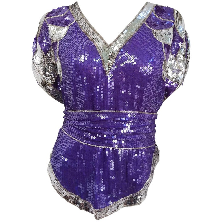 1980s Judith Ann Purple Sequin Top with Sash
