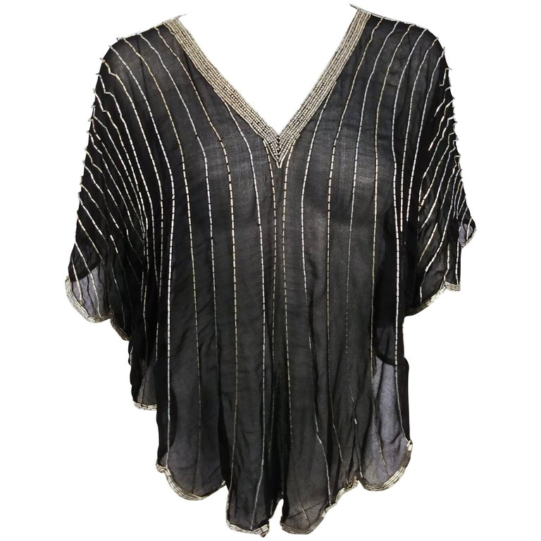 1980s Judith Ann For Neiman Marcus Black/Silver Beaded Silk Chiffon Batwing Top