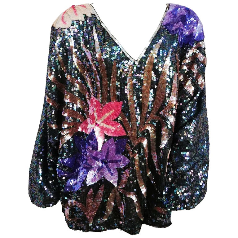 1980s Judith Ann Iridescent Black Oversized Top with Flowers