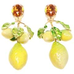 Dolce and Gabbana SS16 Lemon Clip-on Earrings