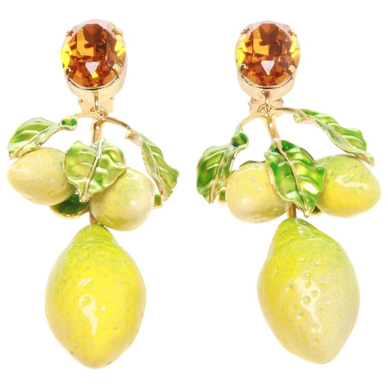 Dolce And Gabbana Ss16 Lemon Clip On Earrings For Sale At