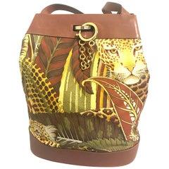 Salvatore Ferragamo Vintage leopard in safari print and brown leather hobo bag
