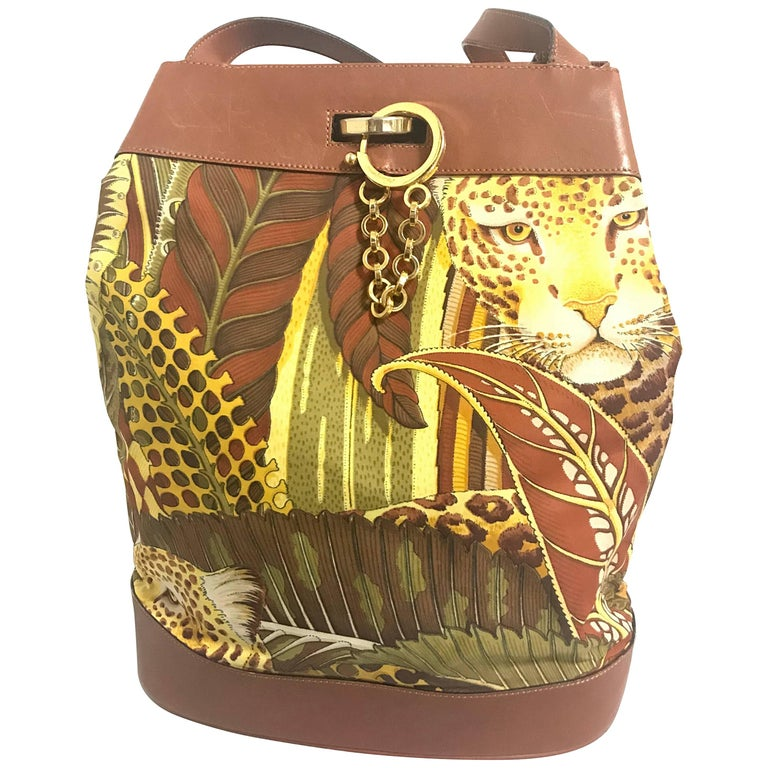 Salvatore Ferragamo Vintage leopard in safari print and brown leather hobo bag