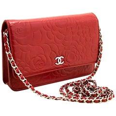 Chanel Red Camellia Wallet On Chain WOC Lambskin Shoulder Bag SV