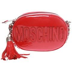 Moschino Red Patent Oval Logo Cross-body Bag