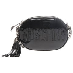 Moschino Black Patent Oval Logo Crossbody Bag