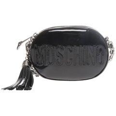 Moschino Black Patent Oval Logo Crossbody Bag