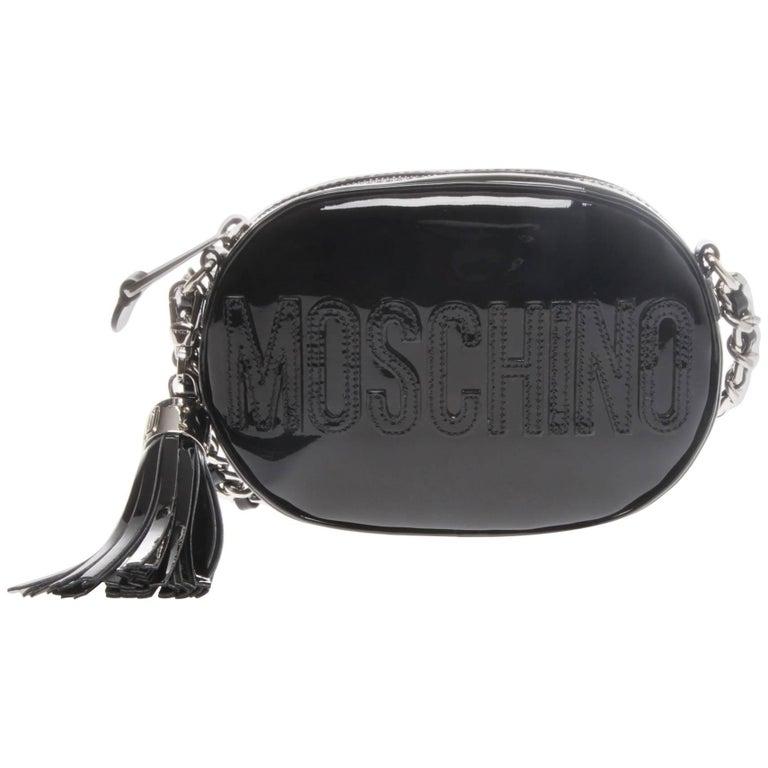 Moschino Black Patent Oval Logo Crossbody Bag For Sale