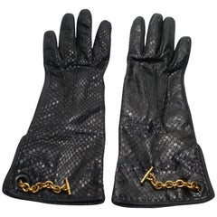 Vintage Yves Saint Laurent Black Python and Leather Gloves Size 6 / Like New