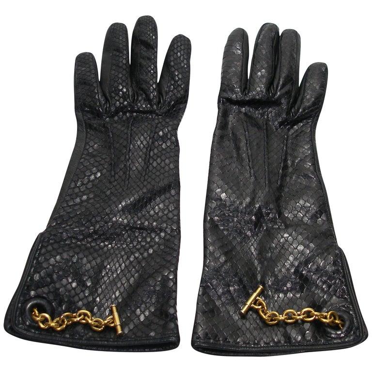 Vintage Yves Saint Laurent Black Python and Leather Gloves Size 6 / Like New