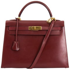 Hermes Kelly Sellier 32 Bordeaux Box Calf