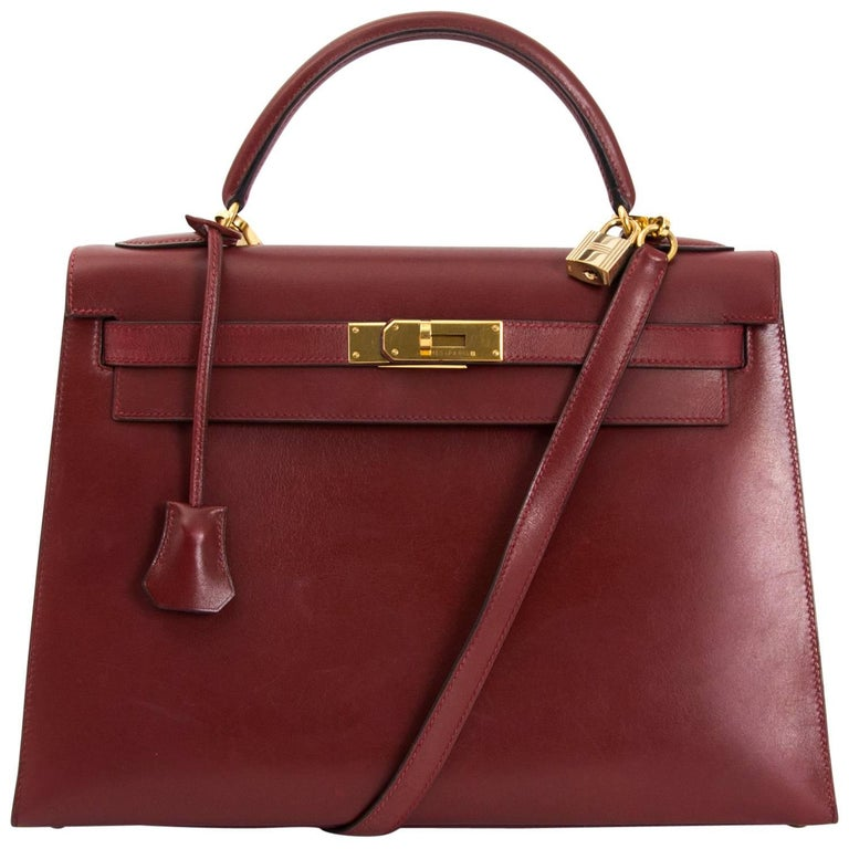 Hermes Kelly Sellier 32 Bordeaux Box Calf For Sale