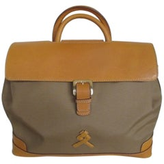 lancel paris leather travel weekend bag