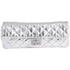 Chanel Silver Quilted Clutch