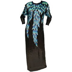 1980 Halston Silk Dress w/ Iridescent Sequins