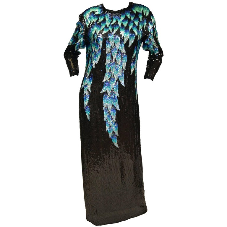 1980 Halston Silk Dress w/ Iridescent Sequins