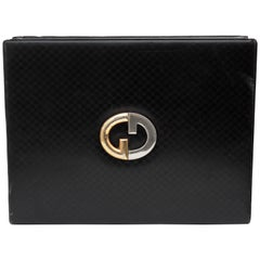 Gucci Black Leather Game Case with Cards Poker Chips GG Logo Embossed Rare 1970s