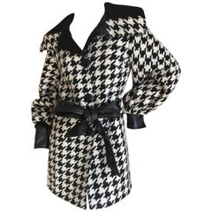 D&G Dolce & Gabbana Vintage Leather Trimmed Belted Houndstooth Jacket