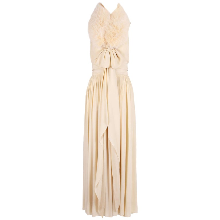 1970s Bill Blass Multi-Layered Creme Silk Gown with Fur Stole