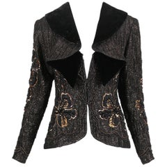 Galanos Black Velvet, Silk & Gold Beaded & Sequined Jacket