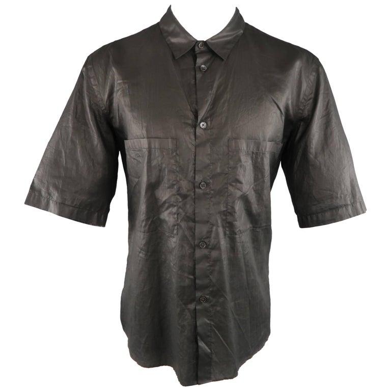 MARNI Size L Black Wrinkled Coated Cotton Short Sleeve Shirt