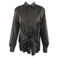 Jean Paul Gaultier Size M Black Tied Front Collared Shirt