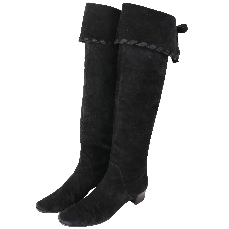 Yves Saint Laurent Vintage Black Suede Thigh-High Boots