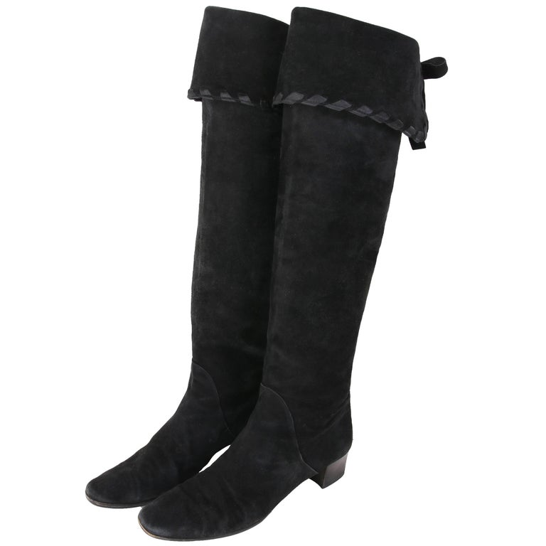 Yves Saint Laurent Vintage Black Suede Thigh-High Boots