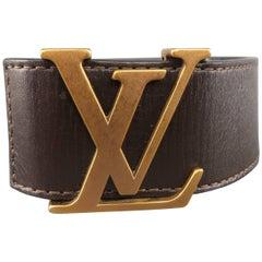 LOUIS VUITTON Size 44 Dark Gold Brass LV Buckle Brown Utah Leather Belt