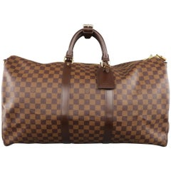 LOUIS VUITTON Brown Damier KEEPALL BANDOULIERE 55 Duffel Bag