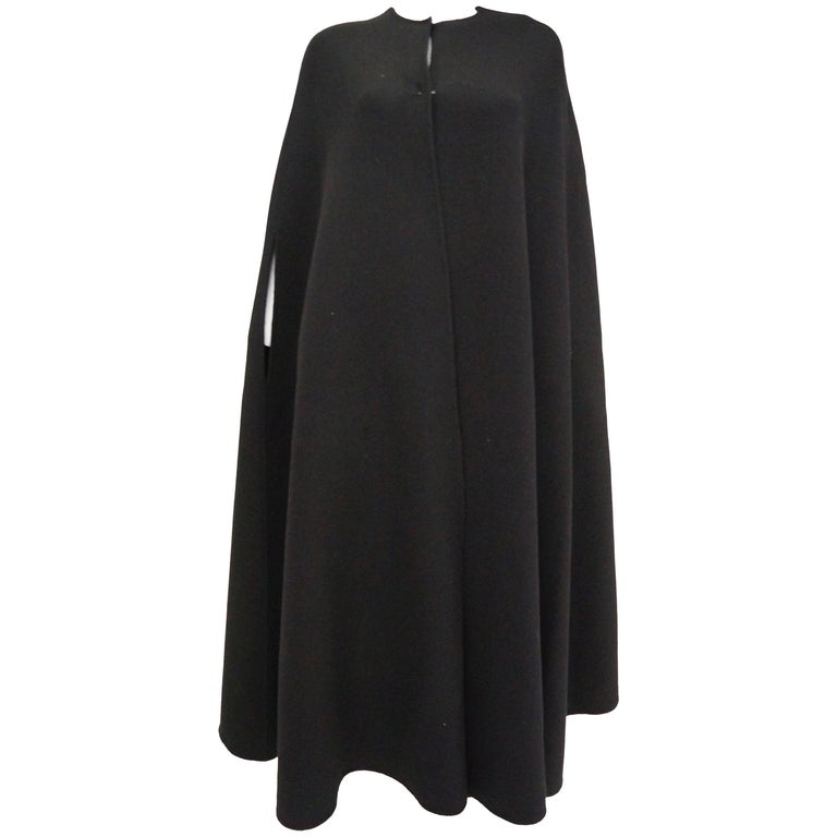 Rare 1940s Madame Gres Floor Length Black Wool Cloak