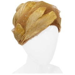 1960s Christian Dior Golden Plumes Hat / Turban