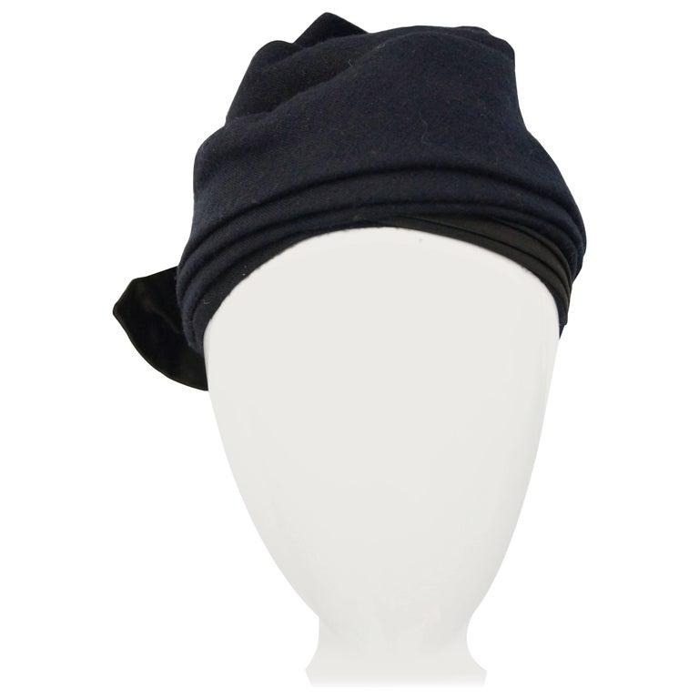 1950s Sally Victor Black Wool Bow Turban