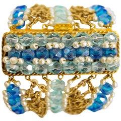 Rare 1960s Coppola e Toppo Blue Crystal and Pearl Bronze Bracelet