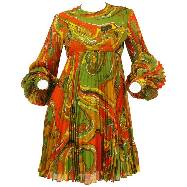 Leo Narducci Multicolor Ebru Marbling Print Dress, 1960s  For Sale