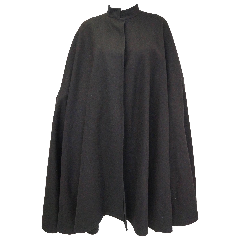 1970s Yves Saint Laurent Mandarin Collar Black Wool Cape