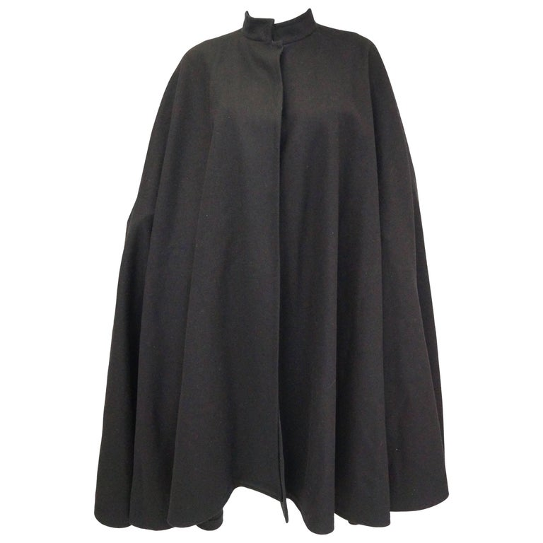 1970s Yves Saint Laurent Mandarin Collar Black Wool Cape For Sale