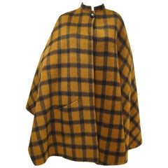 1970s Yves Saint Laurent Reversible Brown Plaid / Black Cape