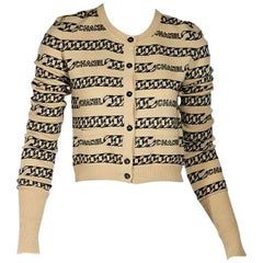 Tan & Black Vintage Chanel Striped Cardigan