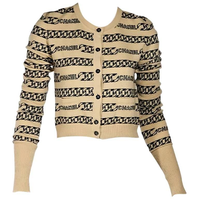 Tan & Black Vintage Chanel Striped Cardigan 1