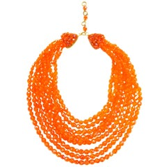 Fantastic 1970s Coppola e Toppo Orange Multistrand Crystal Waterfall Necklace