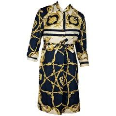 Hermes Multicolor Vintage Printed Coat and Dress Set
