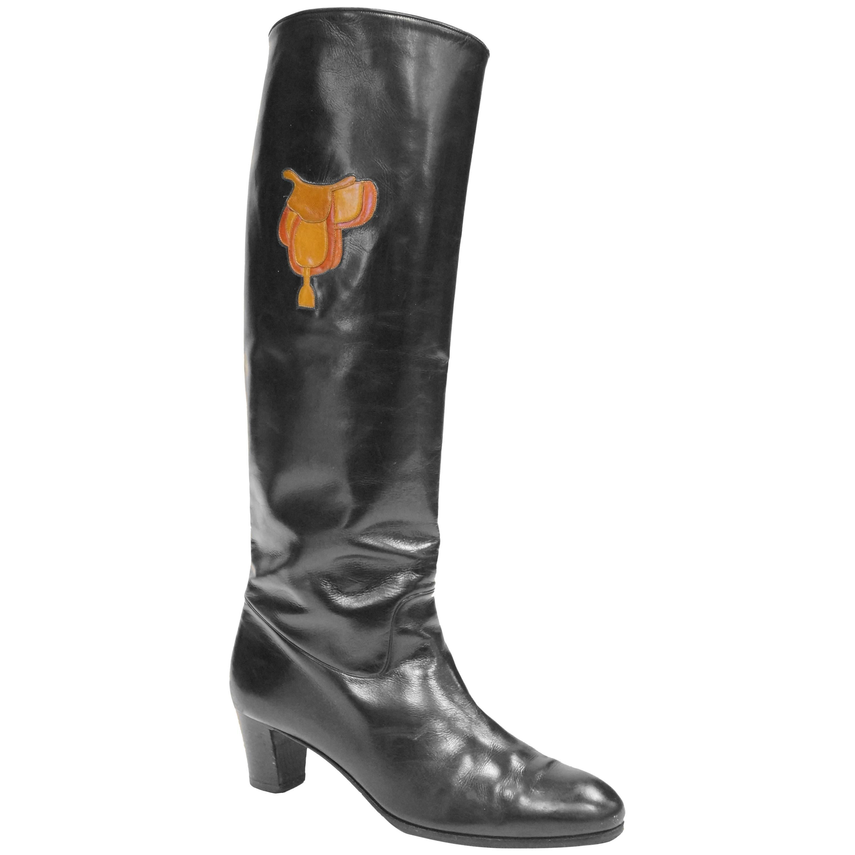"""1980s Gucci Black Leather Equestrian """"Saddle"""" Boots"""