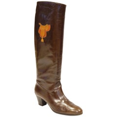 Gucci Mahogany Leather Saddle Applique Boots, 1980s