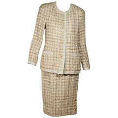 Tan & White Vintage Chanel Tweed Wool Skirt Suit
