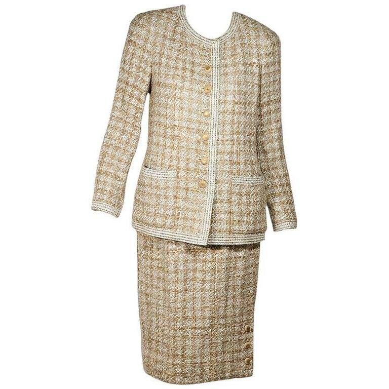 Tan & White Vintage Chanel Tweed Wool Skirt Suit