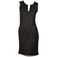 Brown Moschino Tweed Sheath Dress