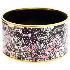 Hermes Brown, Pink & Blue Extra Wide Enamel Bangle Bracelet Sz 65/ Small