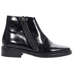 Black Acne Leather Ankle Boots